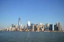 View of Manhattan's skyline from the ferry returning from Ellis Island