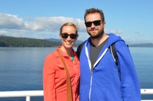 On the dock of the ferry enjoying the scenery
